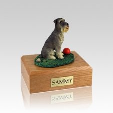 Schnauzer Gray Ears Down Playing Small Dog Urn