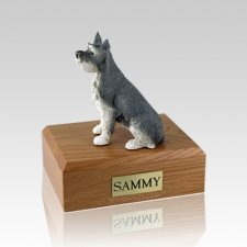 Schnauzer Gray Ears Up Large Dog Urn