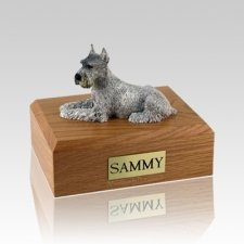 Schnauzer Silver Ears Up Large Dog Urn