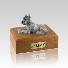 Schnauzer Silver Ears Up Medium Dog Urn