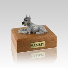 Schnauzer Silver Ears Up Small Dog Urn