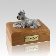 Schnauzer Silver Ears Up X Large Dog Urn