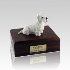 Scottish Terrier White Medium Dog Urn