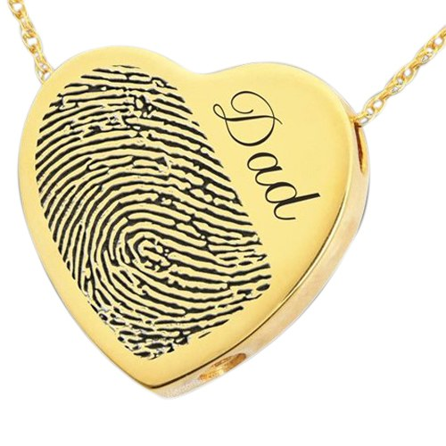 Script Heart 14k Gold Cremation Print Keepsake