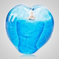 Seafoam Aqua Cremation Ash Glass Heart