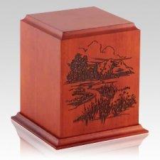 Serene Hills Wood Cremation Urn