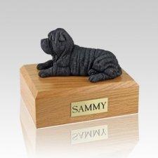 Shar Pei Black Laying Large Dog Urn