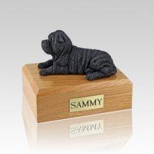 Shar Pei Black Laying Medium Dog Urn