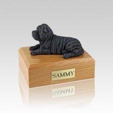 Shar Pei Black Laying Small Dog Urn