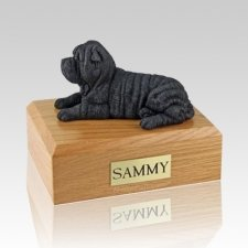 Shar Pei Black Laying Dog Urns