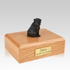 Shar Pei Black Sitting Large Dog Urn