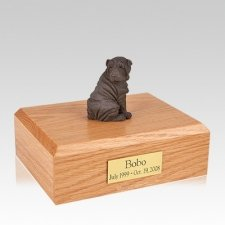 Shar Pei Chocolate Sitting Large Dog Urn