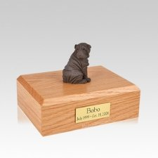 Shar Pei Chocolate Sitting Medium Dog Urn