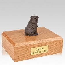 Shar Pei Chocolate Sitting Dog Urns