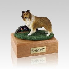Sheltie Sable Standing Medium Dog Urn