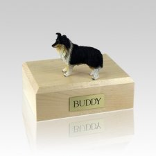 Sheltie Tri-Color Medium Dog Urn