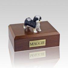 Shih Tzu Black & White Puppycut Large Dog Urn