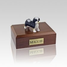 Shih Tzu Black & White Puppycut Small Dog Urn