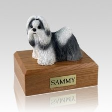 Shih Tzu Black & White Standing Large Dog Urn
