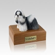 Shih Tzu Black & White Standing Small Dog Urn