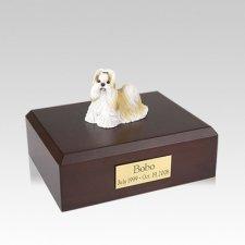 Shih Tzu Gold & White Standing Medium Dog Urn