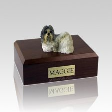 Shih Tzu White & Gray Large Dog Urn