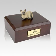 Siamese Laying Large Cat Cremation Urn
