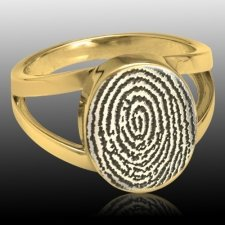Signet 14k Gold Cremation Print Ring