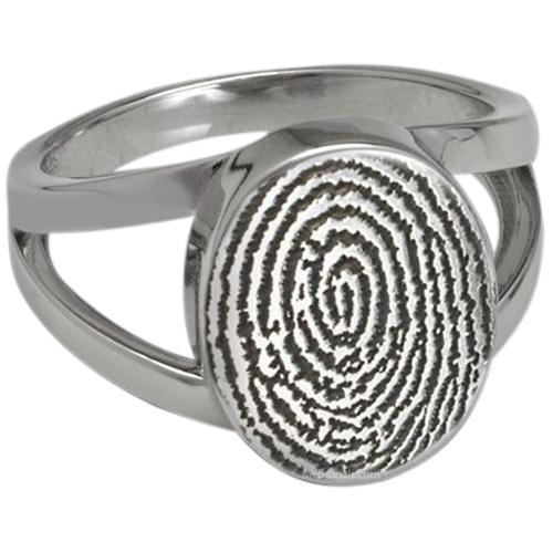 Signet 14k White Gold Cremation Print Ring