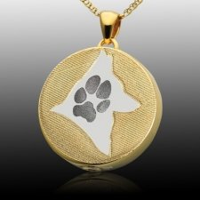 Signet Silhouette Paw 14k Gold Print Cremation Keepsakes