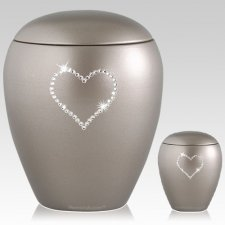 Silver Crystal Heart Ceramic Urns