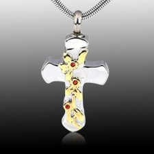Silver & Gold Cross Ash Necklace