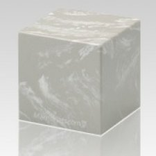 Silver Gray Cube Keepsake Cremation Urn