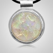 Silver Round Opal Ashes Pendant II