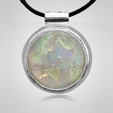 Silver Round Opal Ashes Pendant