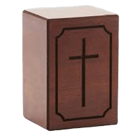 Simple Cross Wood Cremation Urn
