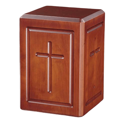 Simplicity Cross Wood Cremation Urn