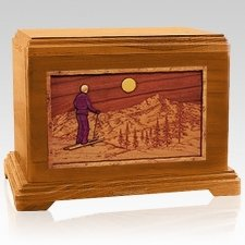 Skiing Mahogany Cremation Urn For Two