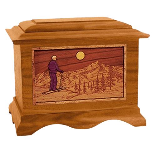 Skiing Mahogany Cremation Urn