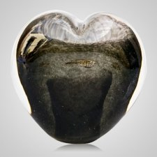 Slate Gray Cremation Ash Glass Heart