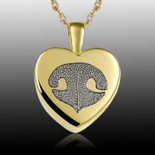 Small Heart Nose 14k Gold Print Cremation Keepsake