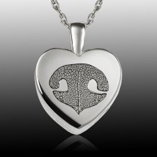 Small Heart Nose 14k White Gold Print Cremation Keepsake