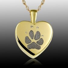 Small Heart Paw 14k Gold Print Cremation Keepsake