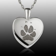 Small Heart Paw 14k White Gold Print Cremation Keepsake