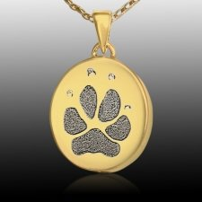 Small Oval Paw 14k Gold Print Cremation Keepsake