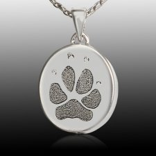Small Oval 14k White Gold Paw Print Cremation Keepsake