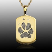 Small Paw 14k Gold Tag Print Cremation Keepsake