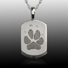 Small Paw 14k White Gold Tag Print Cremation Keepsake