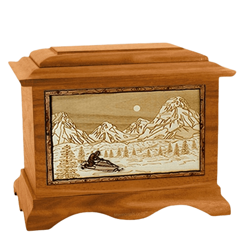 Snowmobile Mahogany Cremation Urn