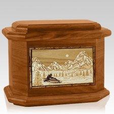 Snowmobile Mahogany Octagon Cremation Urn